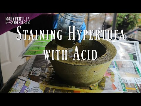Staining Hypertufa Pots with Chemicals. Easy Acid Staining.