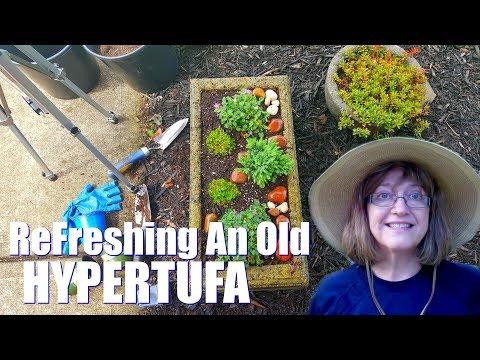 Refreshing An Old Hypertufa Pot - Sunken Soil Levels