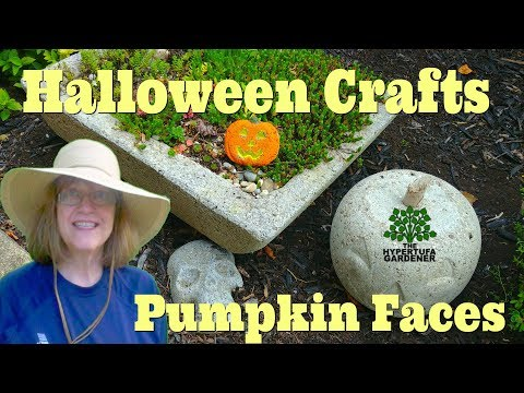 Pumpkin Faces From Hypertufa - Another Halloween Craft