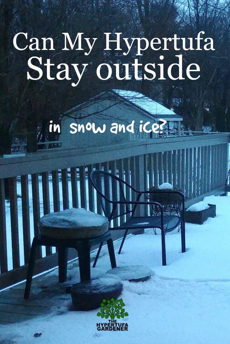 image of snowy deck & hypertufa