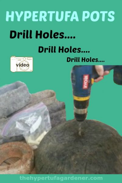 image of drill making hole in hypertufa pot