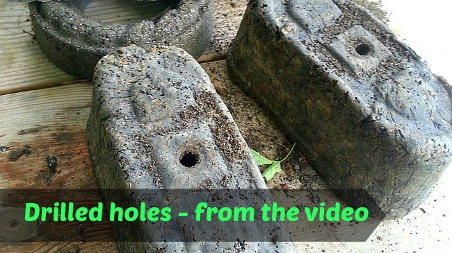 image of Drilled Holes in the Hypertufa Pots from the video