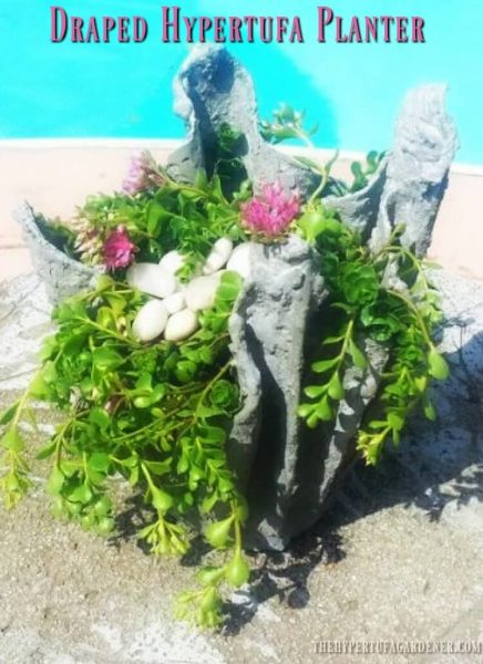Small draped hypertufa planter are great for succulents