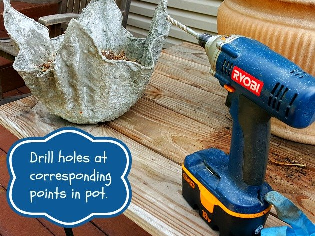 Drill holes in pot- hypertufa gardener