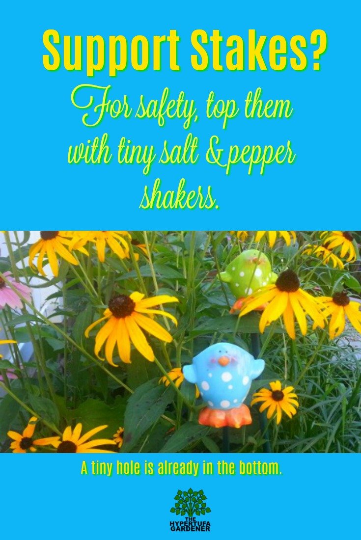 Gardening safety tip - Salt shaker stake toppers