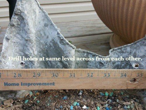 Measuring holes - hypertufa gardener