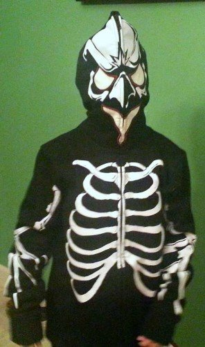 Jacket zipped for Halloween