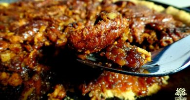 A Slice of Best Nutty Skillet Pecan Tart from The Hypertufa Gardener