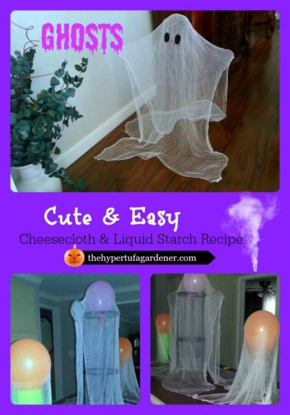Cute and Easy Ghosts -Halloween decorating idea - The Hypertufa Gardener