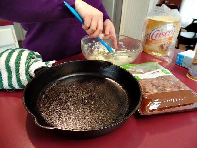 Mixing Crust for Best Nutty Skillet Pecan Tart