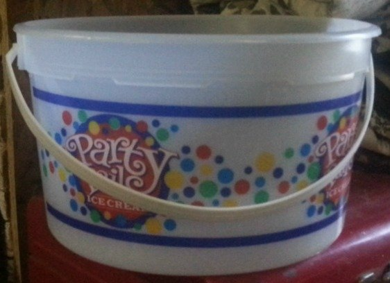 image of Empty Ice Cream Pail for Winter Sowing
