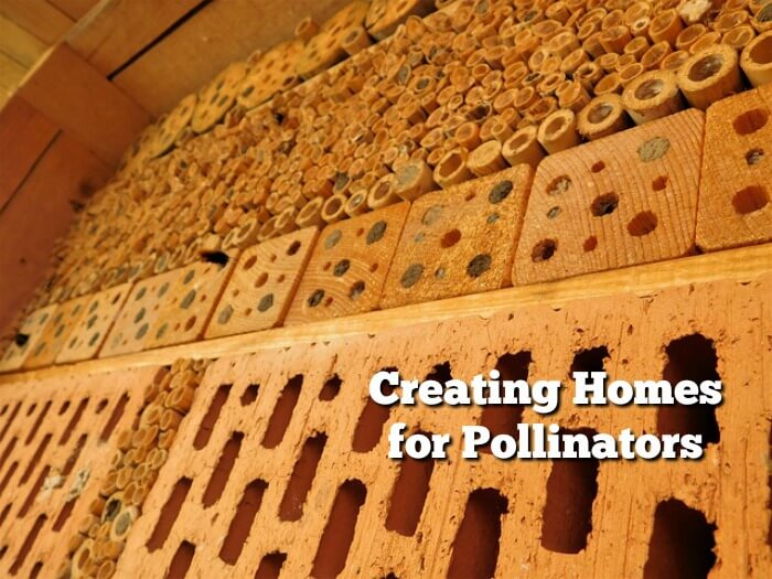 image of bee hotel - wood and bricks
