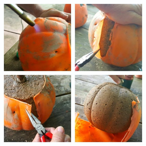 how to make hypertufa pumpkins - Propane torch