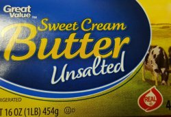 Unsalted Butter - Use 1 stick I think less.