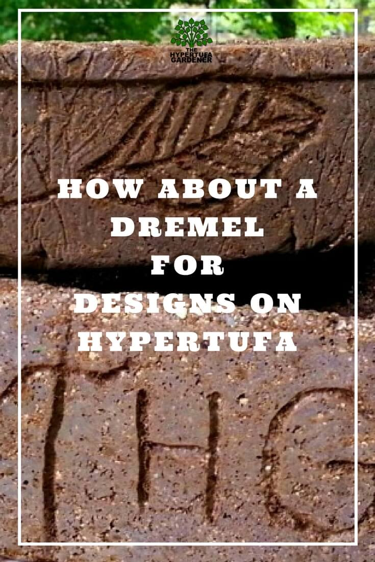 image of hypertufa pots with carved designs with a dremel