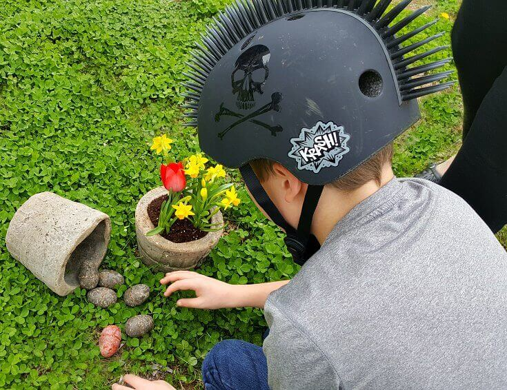 Arranging the Hypertufa Easter Baskets