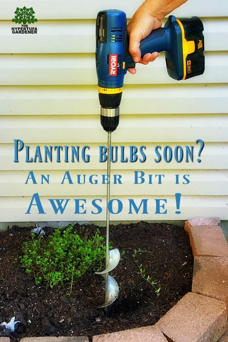 Planting bulbs with an auger bit and a drill. Awesome!