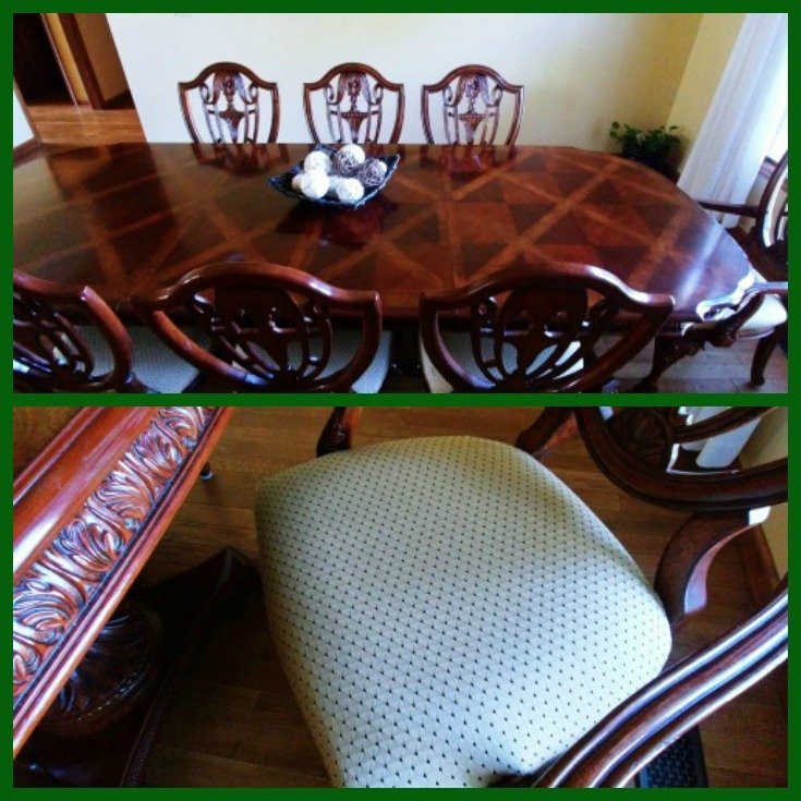 Dining chairs redone with upholstery fabric
