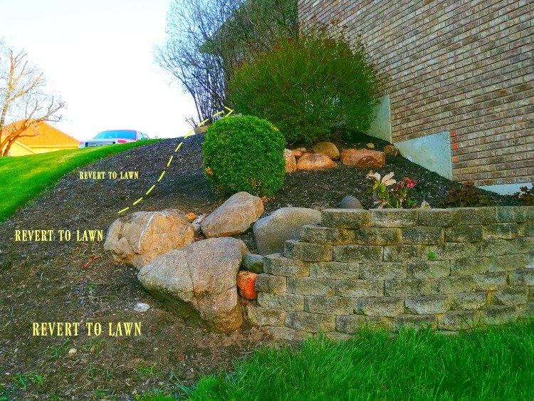 Landscaping with rocks on the south side of the house
