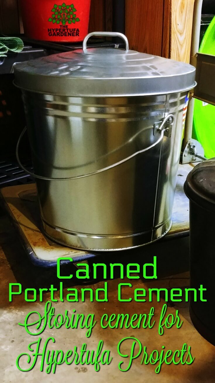 Storing Portland cement in a trash can
