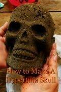 image of hypertufa Halloween skull