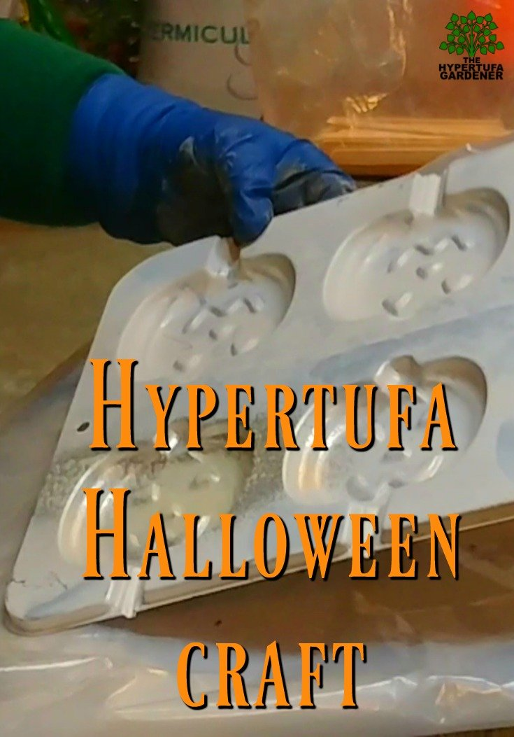 Hypertufa Halloween Craft - Pumpkin Faces