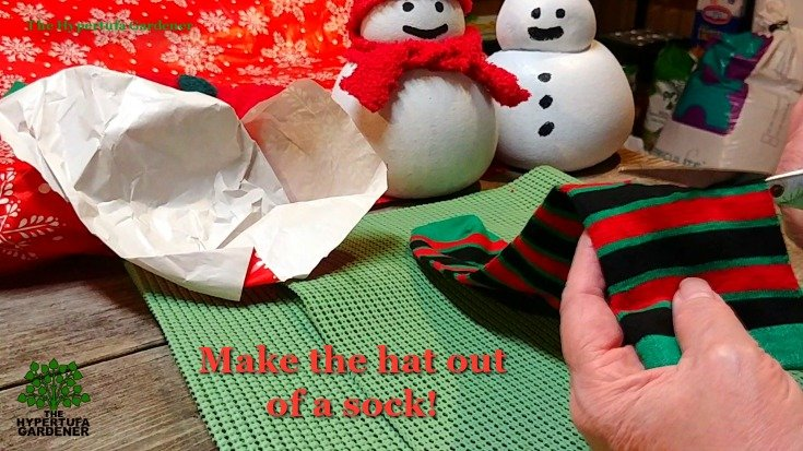 Make a hat from a sock - Hypertufa Snowman