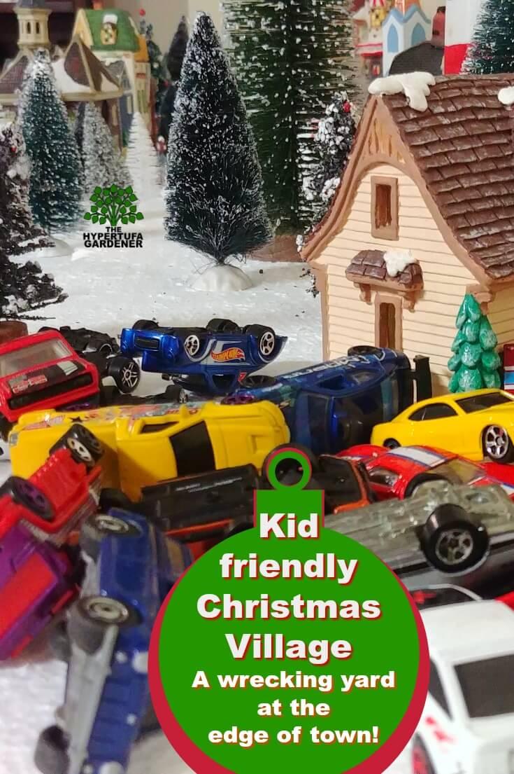 A wrecking yard in my kid-friendly Christmas village