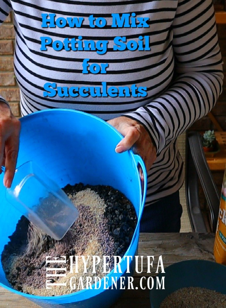 image of lady in striped shirt mixing potting soil