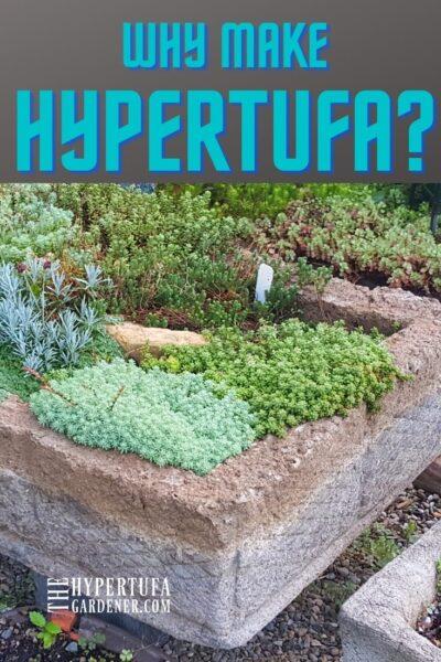 image of large hypertufa garden trough lushly planted