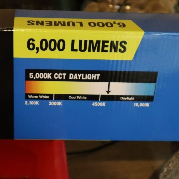 image of the box that a 6000 lumen grow light came in