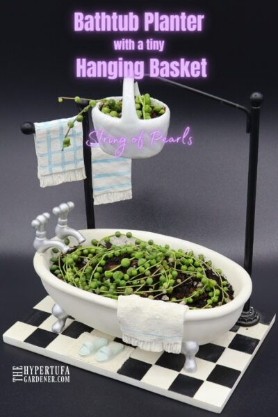 image of full view of Bathtub Planter with its little hanging basket