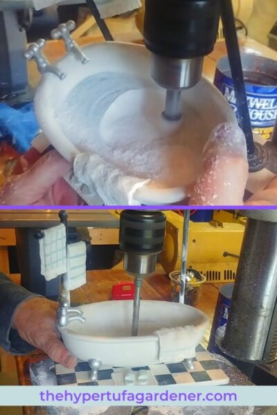 image of drill press working on making this into a bathtub planter