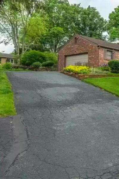 steep slippery asphalt driveway