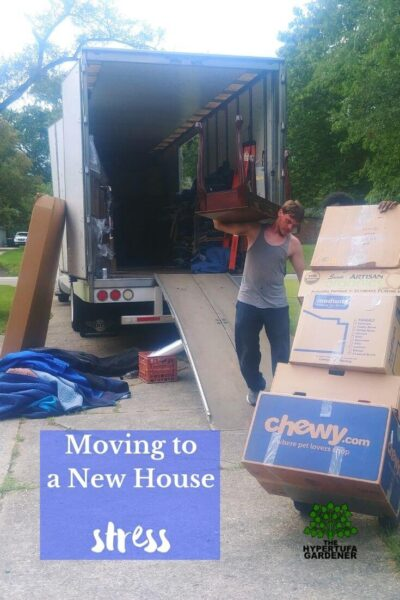 man carrying boxes and furniture off moving truck