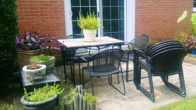 small patio with lots of plants